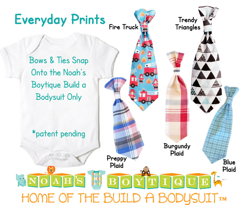 Baby Ties - Plaid Tie - Argyle Tie - Nautical Tie - Boy Tie Outfit - Tie Bodysuit - Newborn Tie - Snap On Tie - Cute Baby Ties - Fire Trucks - Triangles