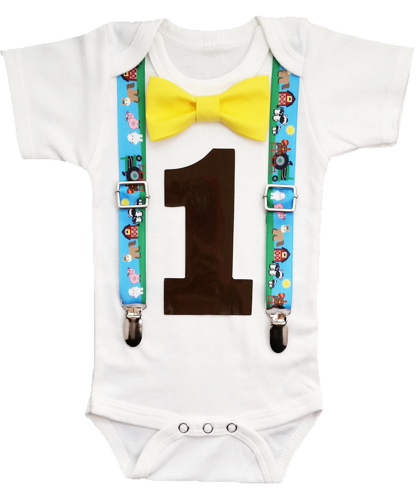 First Birthday Farm Party Outfit Boy Noahs Boytique