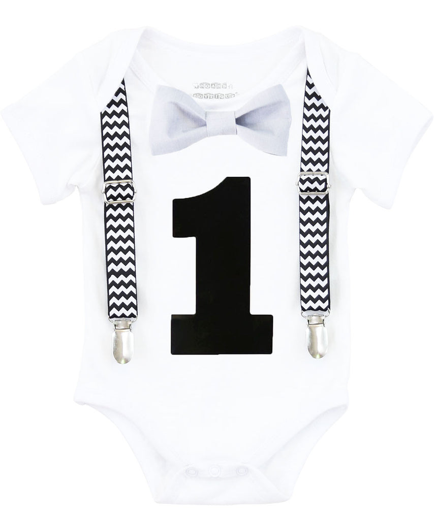 first birthday outfit baby boy black chevron monochrome birthday onesie noah's boytique suspenders bow tie number one grey pants