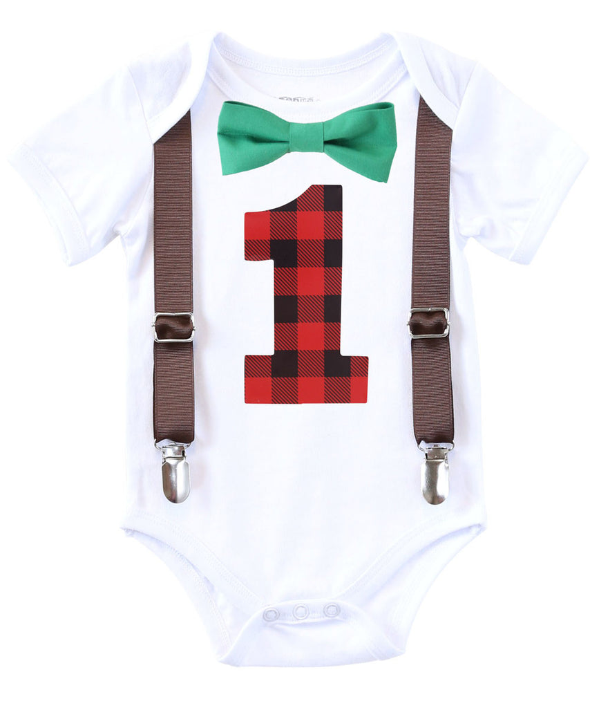319d8e801849 ... Lumberjack First Birthday Party Outfit - Red and Black Buffalo Plaid -  Lumberjack Theme - Camping ...