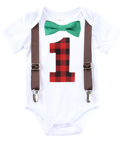 Lumberjack First Birthday Party Outfit Buffalo Plaid One