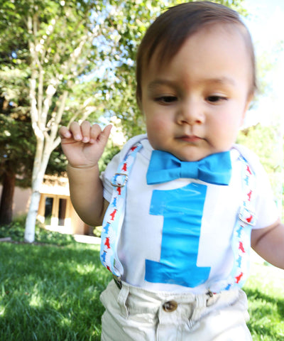 Jungle First Birthday Shirt Suspenders and Bow Tie Lion Monkey