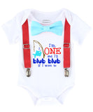 Fishing Fish Under the Sea First Birthday Shirt Outfit Boy Suspenders Bow Tie Onesie 1st birthday outfit fishing pole fisherman first birthday outfits boy cake smash