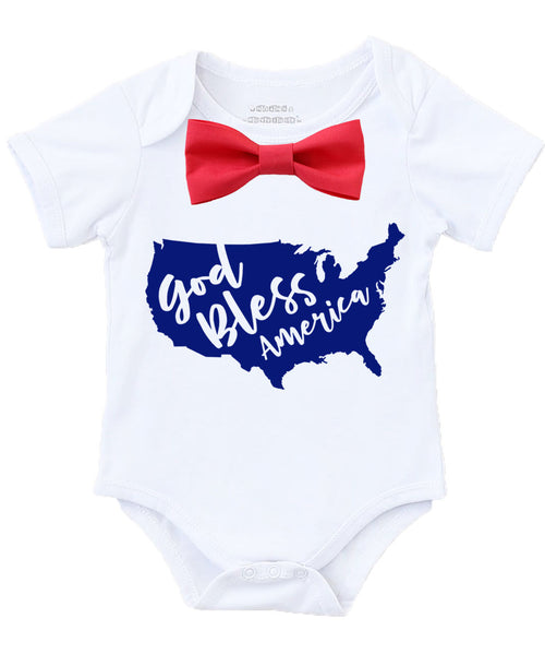 Baby boy fourth of july outfit first 4th of july god bless america memorial day shirt onesie red bow tie patriotic outfit newborn parade pageant cute baby boy clothes proud to be an american toddler boy