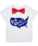 Fourth of July Shirt Toddler Boy God Bless America Memorial Day Patriotic Red Bow Tie Stars Stripes Proud to Be An American