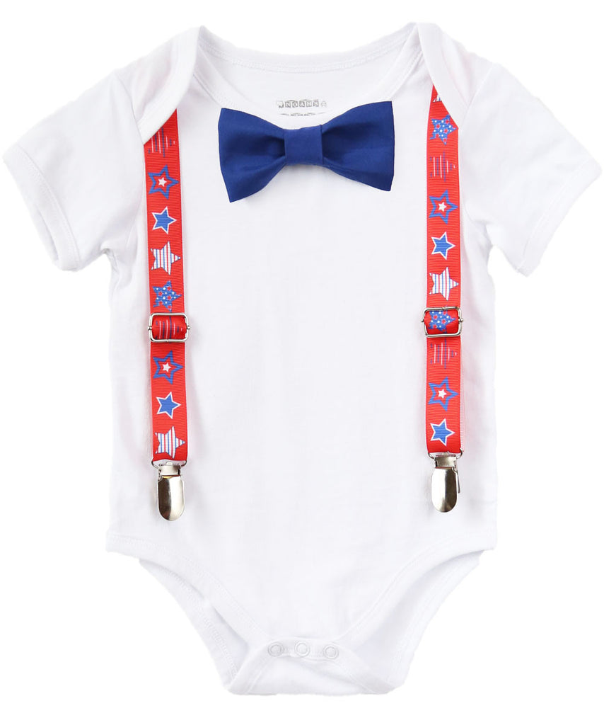 July 4th Baby Boy Outfit - Fourth of July Boy Clothes - Newborn 4th of July - Toddler - Patriotic - 4th of July Outfits for Boys - Star Tie