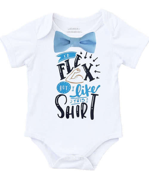 Newborn Boy Coming Home Outfit Blue and Grey  Baby Boy Clothes Gray Coming Home Set Shower Gift Baby Boy Funny Onesie I'd Flex But I Like This Shirt