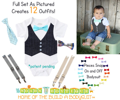 Baby Shower Gift Baby Boy Bundle Bow Ties Vest Suspenders Baby Boy Clothes with Bow Ties
