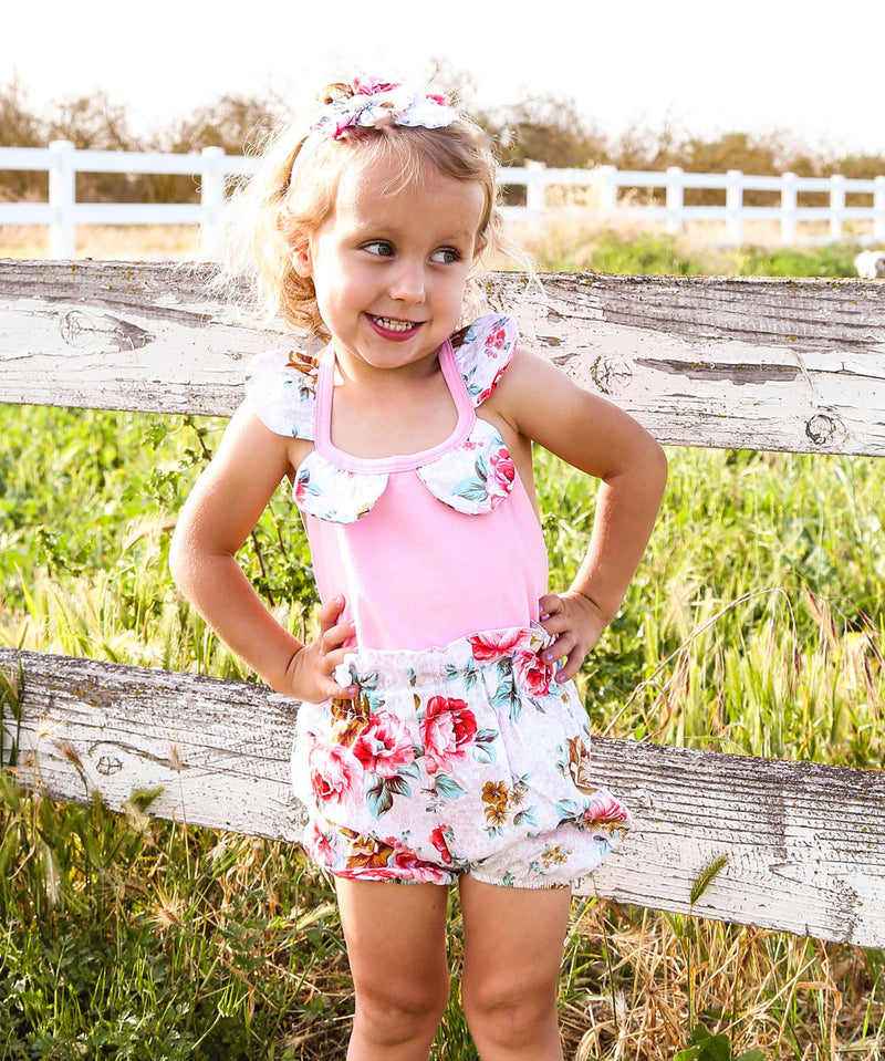 Baby Girl Floral Print Romper - Vintage Floral Print Baby Clothes - Headband - Baby Girl Outfits - Vintage Baby Rompers - Pink - White - Green - Rosebuds - Aqua - Bubble Shorts - Summer Clothes