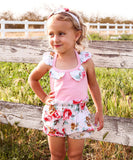 Baby Girl Pink and Floral Romper with Bubble Shorts and Headband Set - Noah's Boytique Rompers - Baby Boy First Birthday Outfit