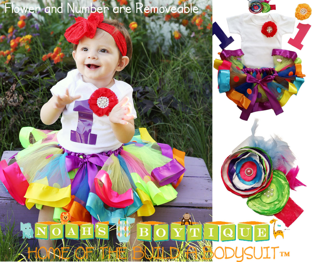 33d0ae2fd975 Rainbow Girls First Birthday Outfit - Ribbon Tutu - Colorful - 1st ...
