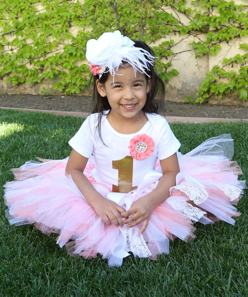 Baby Girl First Birthday Outfit - Coral White Gold Lace Tutu - 1st Birthday - First Birthday Clothes - Headband - Baby Girl - Princess