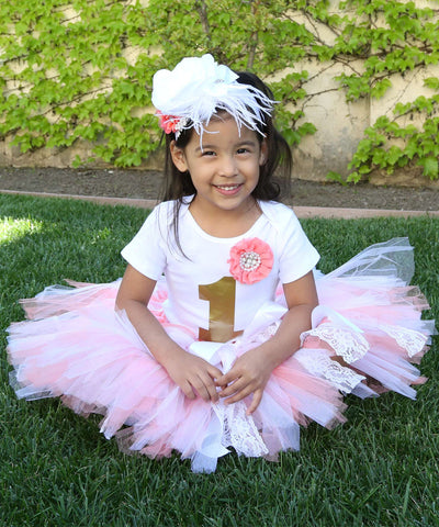 454fdca3e Baby Girl First Birthday Outfit - Coral White Gold Lace Tutu - 1st ...