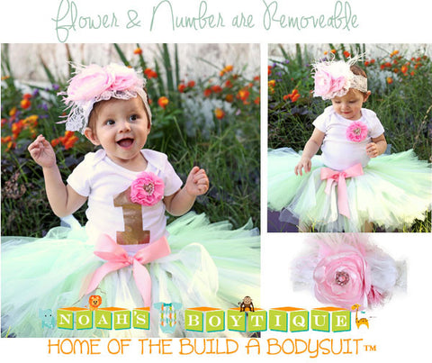 First Birthday Outfit Baby Girl Unicorn Pastel Colors Pink