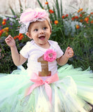 Baby Girl First Birthday Outfit - Mint Pink Gold White Lace Tutu - 1st Birthday - First Birthday Clothes - Headband - Baby Girl - Princess - Noah's Boytique Tutu - Baby Boy First Birthday Outfit
