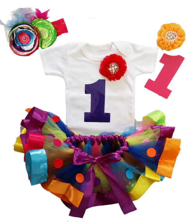 Rainbow Girls First Birthday Outfit - Ribbon Tutu - Colorful - 1st Birthday - Circus - First Birthday Dress - Rhinestones - Pearls - Candy