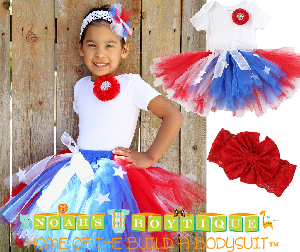 Girls Fourth of July Outfit - Fourth of July Tutu - Toddler - Baby Girl - Red White and Blue Star Tutu - July 4th Romper - Parade - Pageant - Noah's Boytique Tutu - Baby Boy First Birthday Outfit