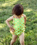 Baby Toddler Girls Lime with Gold Dot Romper