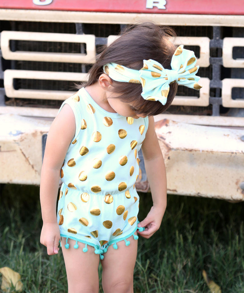 11ca9b42b ... Baby Girl Mint and Gold Romper - Polka Dot Print Baby Clothes - Headband  - Baby ...