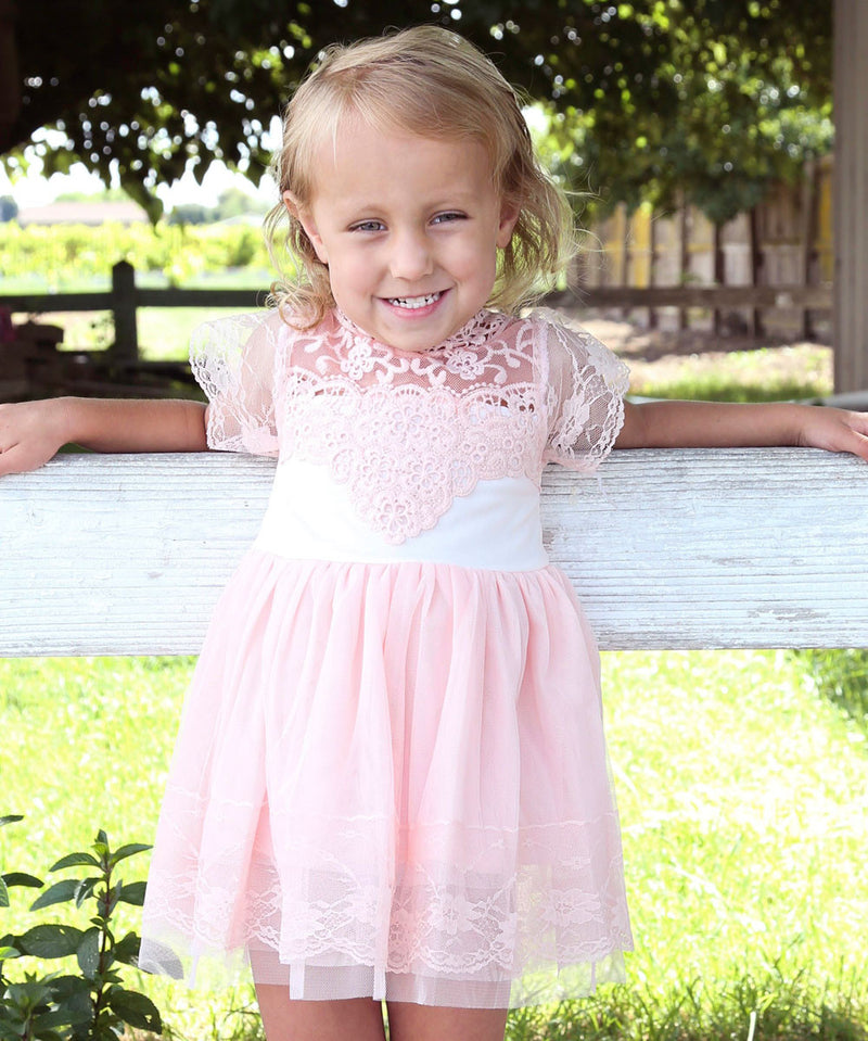 Baby Girl Vintage Inspired Lace Top with Pink Tulle Bottom