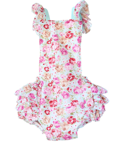 fb4d151e8bd2 Baby Girl Mint and Gold Pom Pom Summer Romper With Headband – Noah s ...