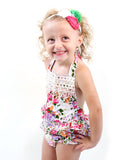 Baby Girl Floral Romper - Floral Print Baby Clothes - Headband - Baby Girl Outfits - Baby Girl Summer Outfits - Vintage Rompers - Newborn Girl - Baby Girl Clothes - Ruffle Bottoms - Bloomers - Colorful - Summer