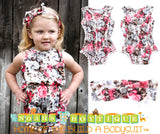 Baby Girl Floral Romper - Floral Print Baby Clothes - Headband - Baby Girl Outfits - Baby Girl Summer Outfits - Vintage Rompers - Newborn Girl - Baby Girl Clothes