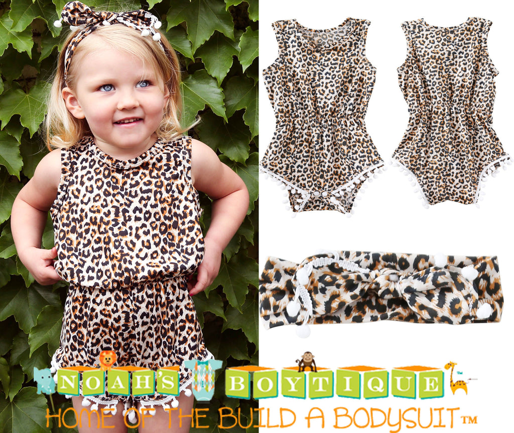 f15b4acbd ... Baby Girl Leopard Romper - Leopard Print Baby Clothes - Headband - Baby  Girl Outfits ...