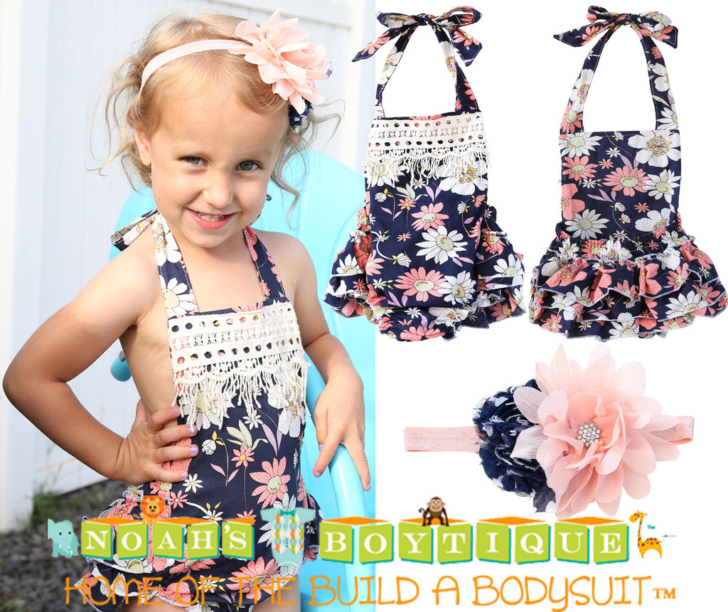 Baby Girl Navy Floral Romper With Peach Flowers and Lace Trim - Noah's Boytique Rompers - Baby Boy First Birthday Outfit