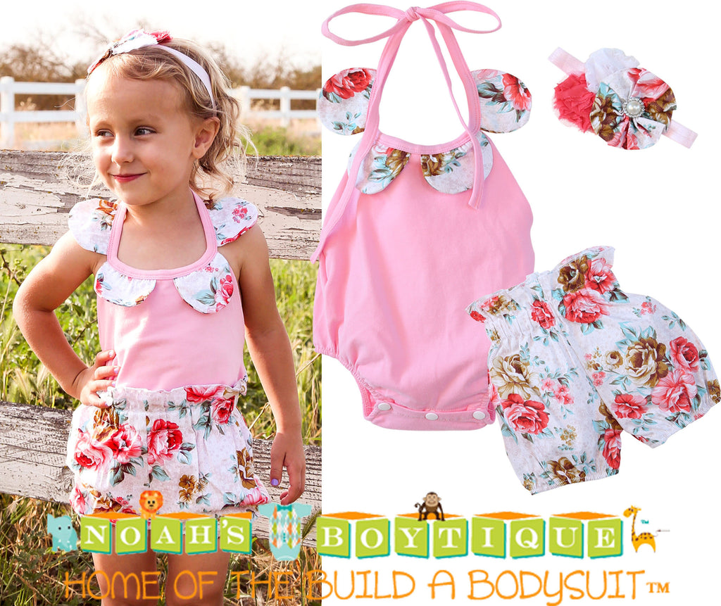 c98c404acbb4 ... Baby Girl Pink and Floral Romper with Bubble Shorts and Headband Set -  Noah s Boytique Rompers ...
