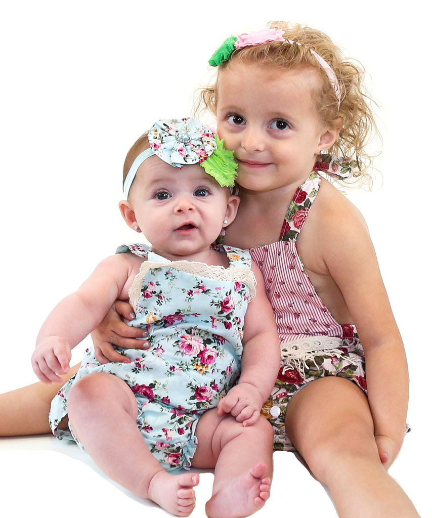 Baby Girl Floral Print Romper - Vintage Floral Print Baby Clothes - Headband - Baby Girl Outfits - Vintage Baby Rompers - Pink - White - Green - Rosebuds