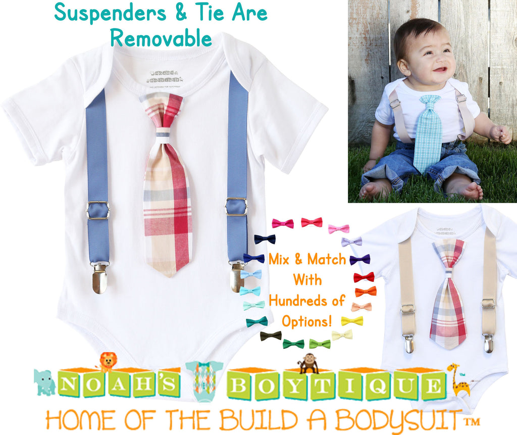 82fcf2b1bc51 ... Baby Boy Outfits for Spring - Summer Baby Boy Clothes - Plaid - Preppy  - Tie ...