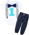 Cake Smash Outfit Boy Grey Navy Aqua - Chevron - Aqua Pants - Boys First Birthday Outfit - Set - Suspenders Bow Tie - Photo Prop - 1st - Noah's Boytique