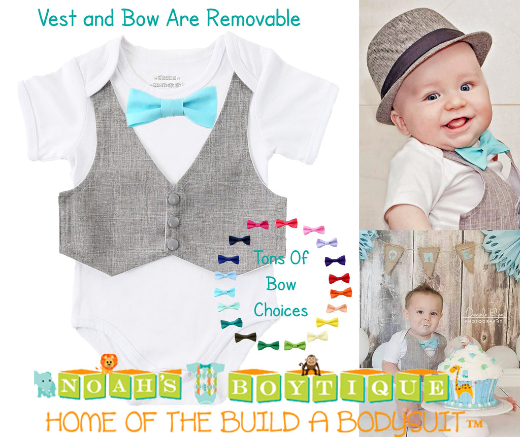 0ee34f57b Baby Boy Clothes Grey Vest Bow Tie Cake Smash Outfit Easter Shirt ...