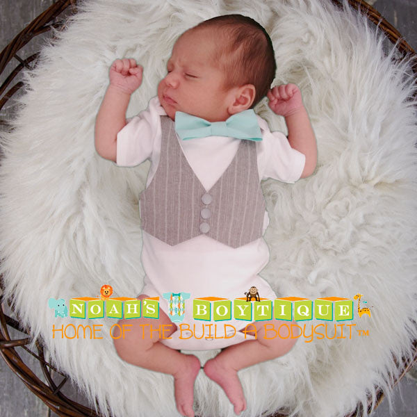 a00354688 Baby Boy Clothes Grey Vest Bow Tie Cake Smash Outfit Easter Clothes