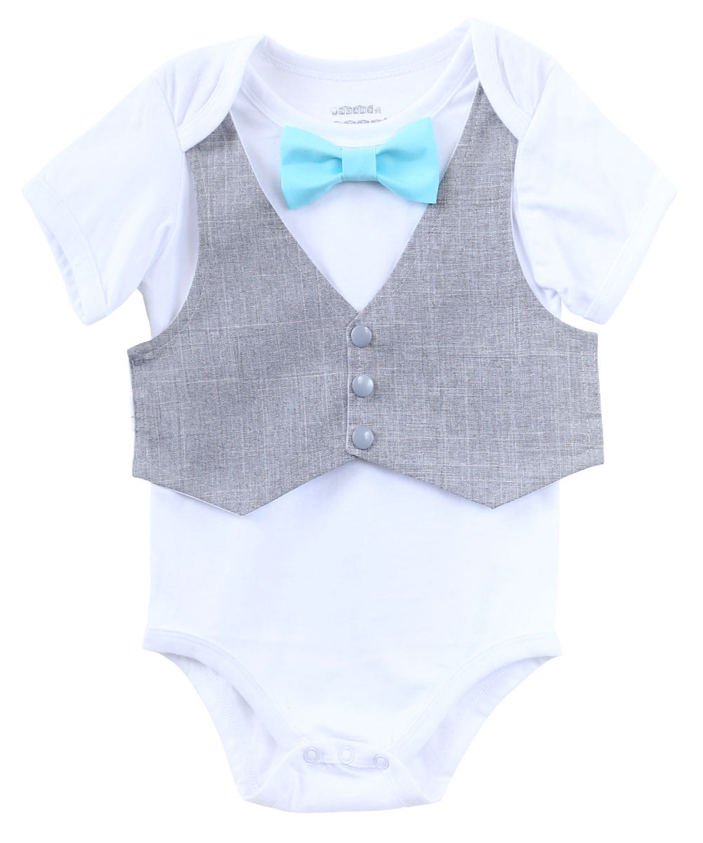 Baby Boy Clothes Grey Vest Bow Tie Cake Smash Outfit