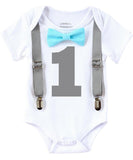 Boys First Birthday Outfit - Baby Boy Birthday Clothes -1st Birthday - Grey Blue Aqua Birthday - First Birthday - Suspenders Bow Tie - Shirt - Noah's Boytique  - Baby Boy First Birthday Outfit