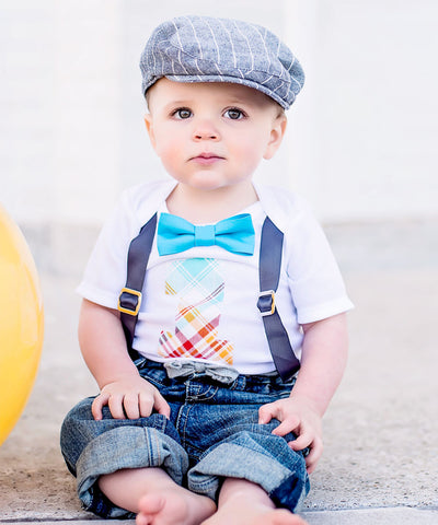 Mr Onederful First Birthday Outfit Black and Gold with Suspenders