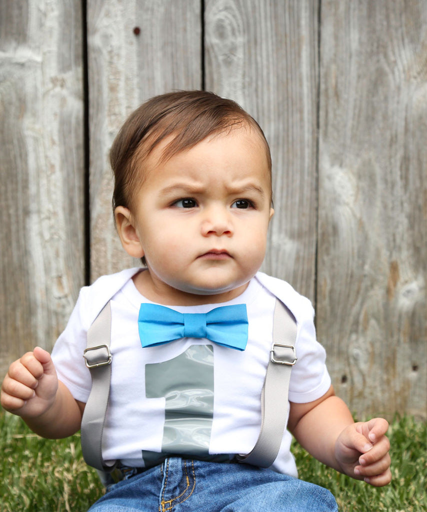 1st Birthday Outfit Boy Grey And Blue