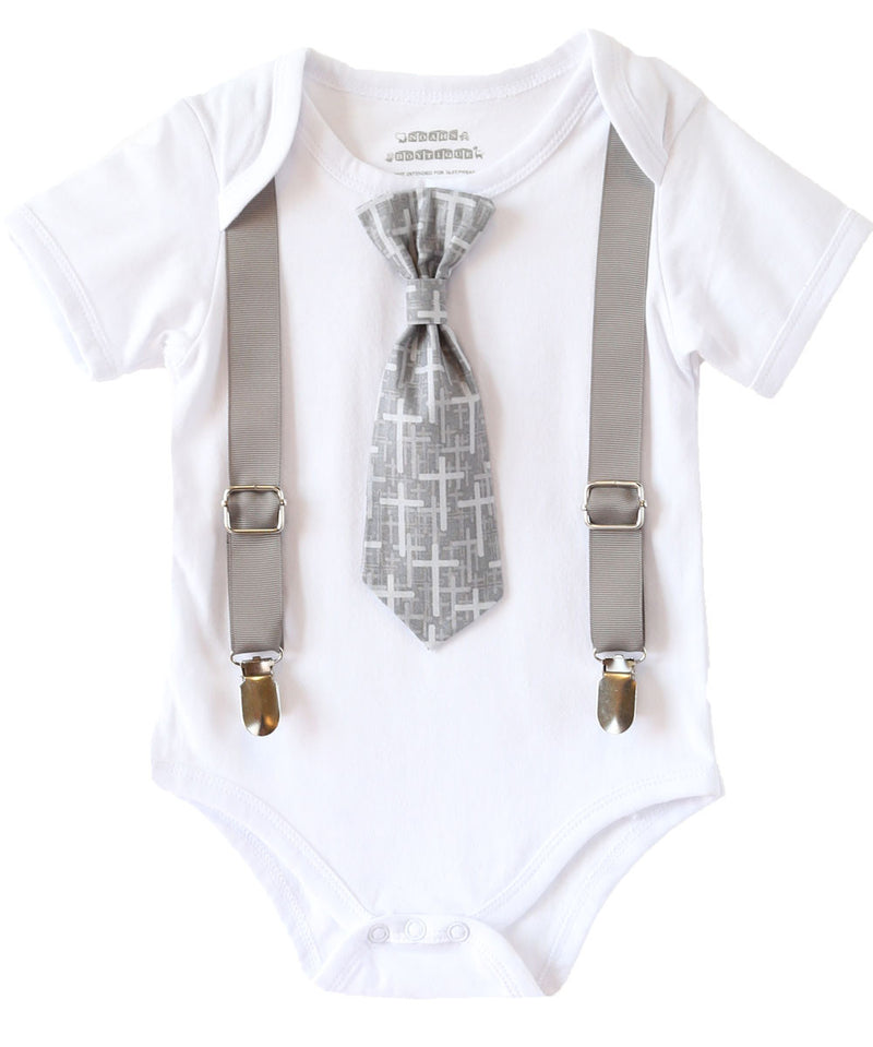 4 Pcs Christening Gifts Short Sleeve Suit Set Baby Boy Baptism Outfits Cross Detail