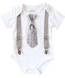 Baptism Outfits for Boys - Baby Boy Baptism Outfit - Cross Tie - Silver - White - Grey - Christening - Dedication - Baptism Suit - Newborn - Noah's Boytique - Noahs Boytique