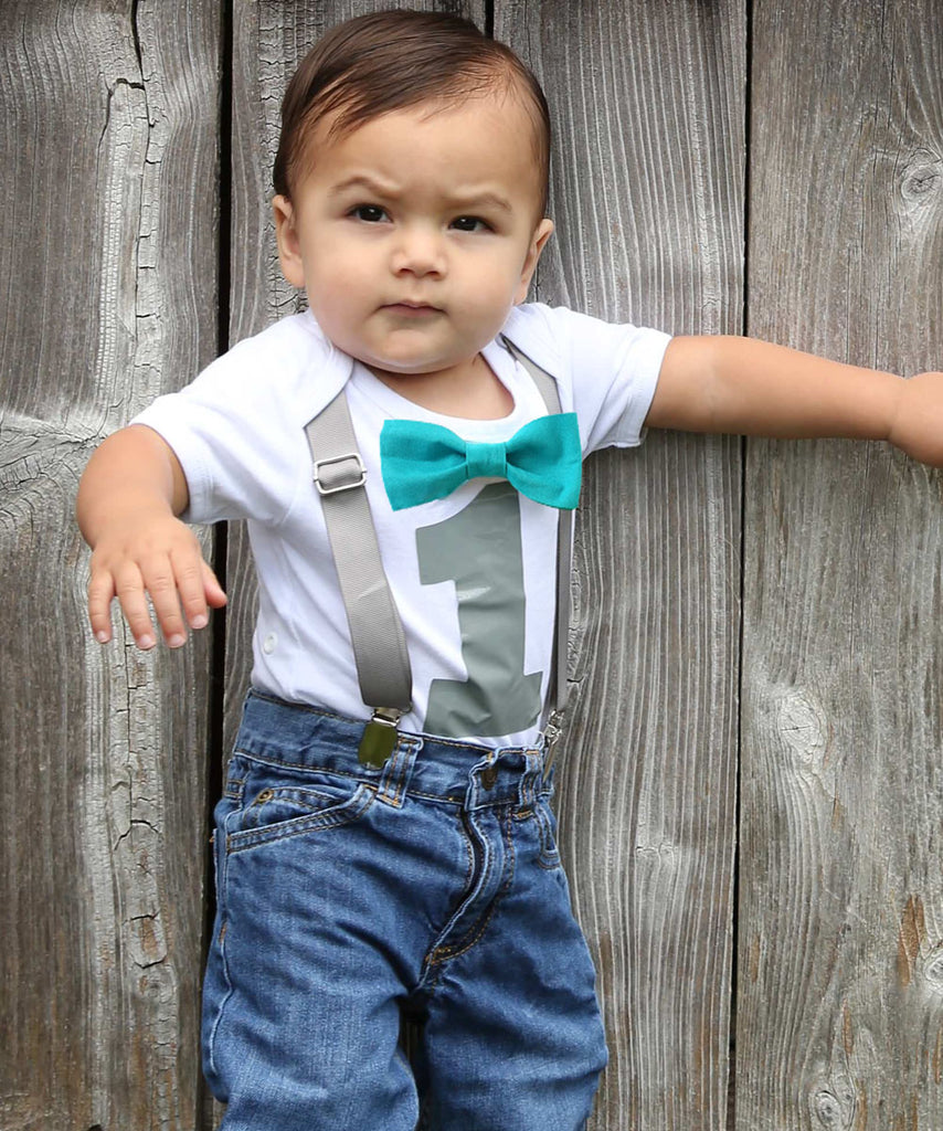 First Birthday Outfit Boy Teal And Gray 1st Shirt Grey Number One