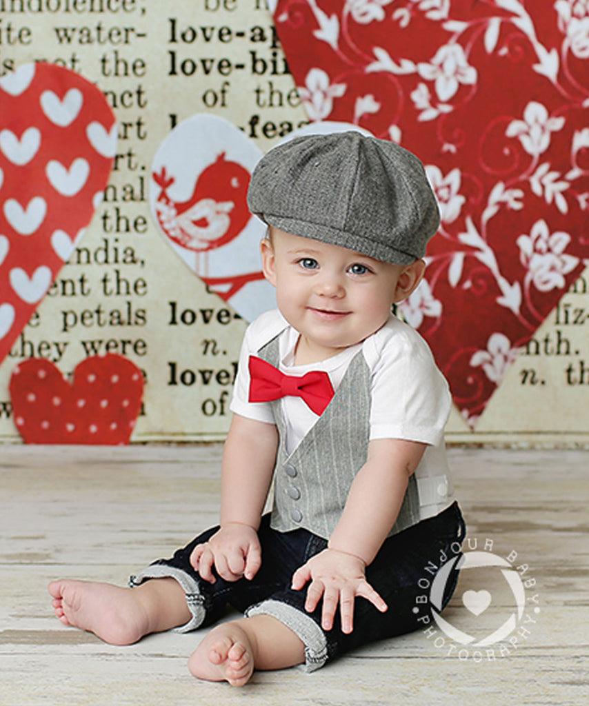 Baby Boy Clothes Light Grey Vest Suspender Bow Tie Set ...