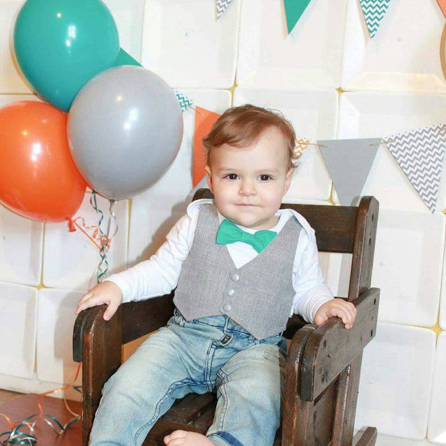 Baby Boy Clothes - Grey Pinstripe Vest and Bow Tie Outfit - Baby Wedding Outfit - Baby Shower Gift - Cake Smash - First Birthday - Baby Suit - Noahs Boytique - Noah's Boytique