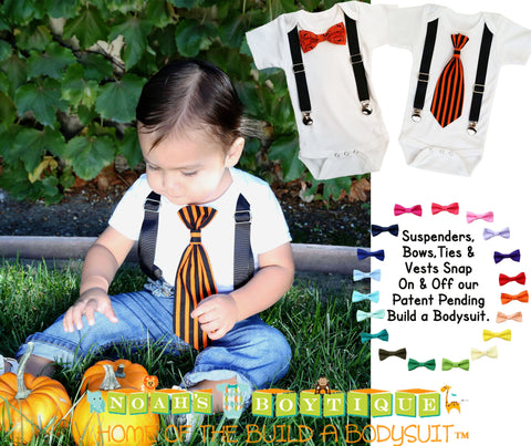 4th of July Outfit Boy Patriotic Blue Suspenders and Star Stripe Tie