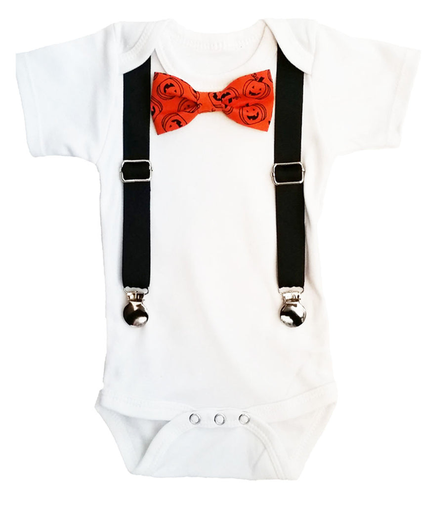 Well-liked Halloween Outfits for Baby Boys Pumpkin Bow Tie and Suspenders  WJ55