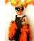 Orange and Black Feather Dress