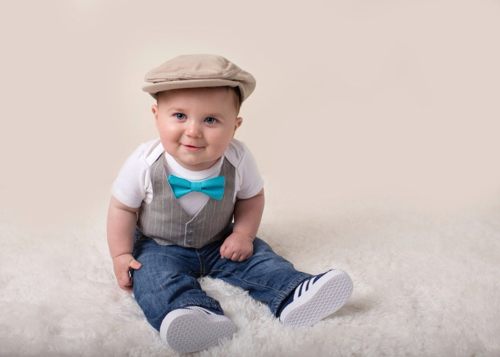 Baby Boy Clothes Light Grey Vest Suspender Bow Tie Set – Noah\'s Boytique