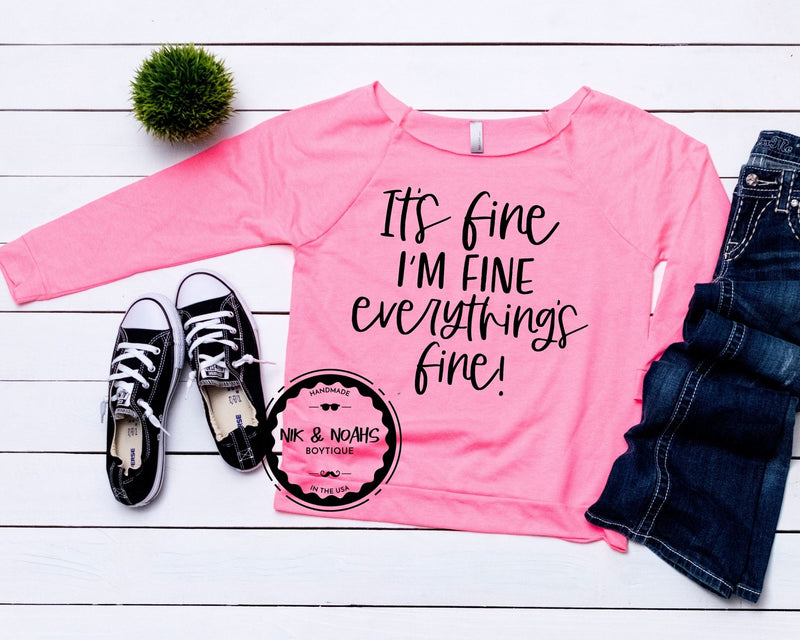 It's fine I'm fine everything is fine womens t-shirt mint long sleeve hot pink nude off the shoulder funny womens graphic tees hot pink