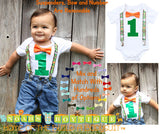 Jungle Zebra Noah's Boytique Bodysuit Suspenders - Snap on Suspenders - Suspender Outfit - Baby Suspenders - Safari - Zoo - Monkey - Lion - Noah's Boytique Suspenders - Baby Boy First Birthday Outfit